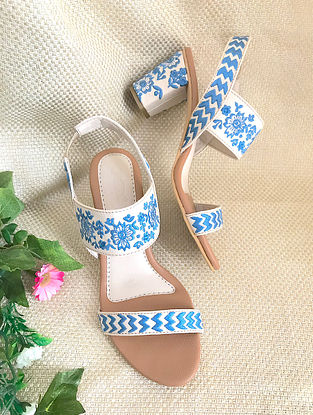 White Blue Embroidered Leather Block Heels