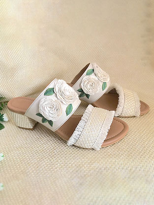 White Green Embroidered Leather Block Heels with Fringes