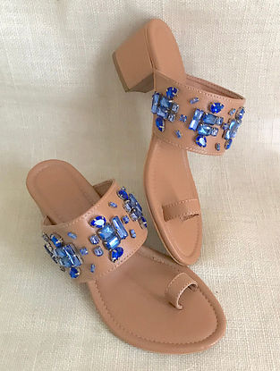 Tan Blue Hand Embroidered Kolhapuri Block Heels