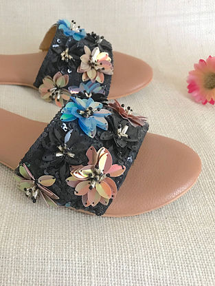 Black Tan Hand Embroidered Flats with Sequins and Beads
