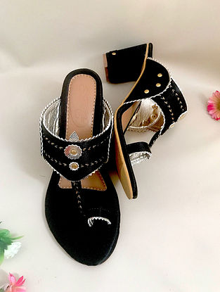 Black Gold Handcrafted Satin Kolhapuri Block Heels