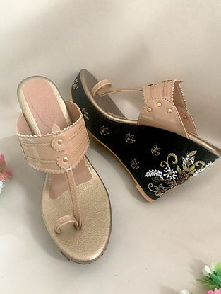 Nude Black Zari Embroidered Leather Wedges