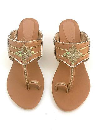 Nude Gold Zari Motif Kolapuri Leather Block Heels
