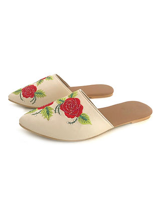 Cream Red Embroidered Leather Mules