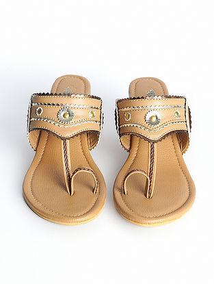 Beige Handcrafted Faux Leather Kohlapuri Block Heels