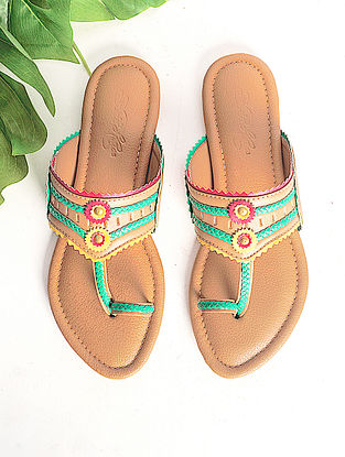 Tan Handcrafted Faux Leather Kohlapuri Flats