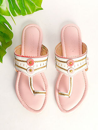 White Pink Handcrafted Faux Leather Kohlapuri Flats