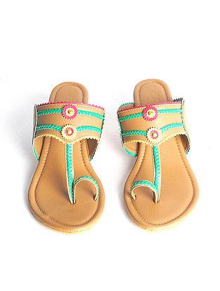 Tan Handcrafted Faux Leather Kohlapuri Block Heels