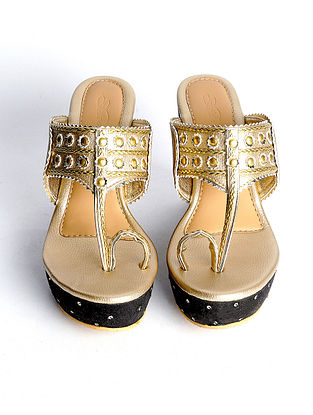Gold Black Handcrafted Faux Leather Kohlapuri Wedges