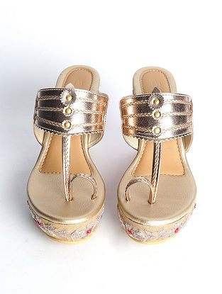 Dull Gold Handcrafted Faux Leather Kohlapuri Wedges