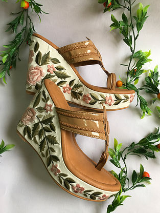 Beige-Multicolored Thread Embroidered Kolhapuri Wedges