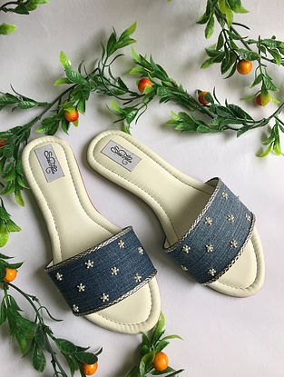 Blue Pearl Embellished Re-cycled Denim Flats