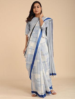 Indigo Block-Printed Cotton Saree