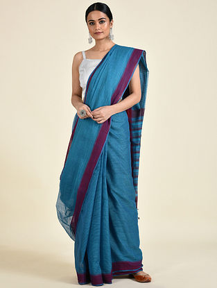 Blue-Red Handwoven Missing Check Cotton Saree
