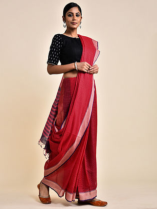 Red-Purple Handwoven Missing Check Cotton Saree