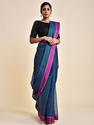Blue-Pink Handwoven Missing Check Cotton Saree