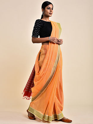 Orange-Grey Handwoven Missing Check Cotton Saree