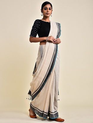 Ivory-Grey Handwoven Missing Check Cotton Saree