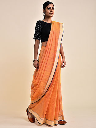 Orange-Pink Handwoven Missing Check Cotton Saree