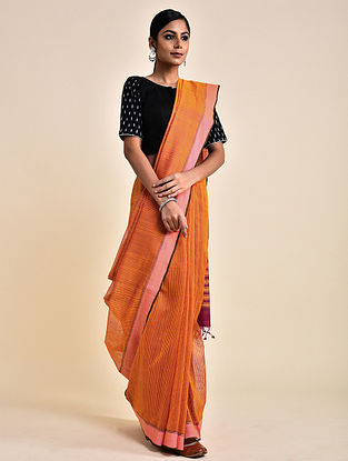 Orange-Purple Handwoven Missing Check Cotton Saree