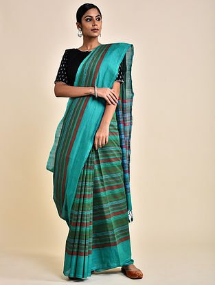 Aqua Handwoven Striped Cotton Saree