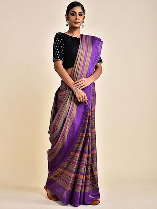 Purple-Brown Handwoven Striped Cotton Saree