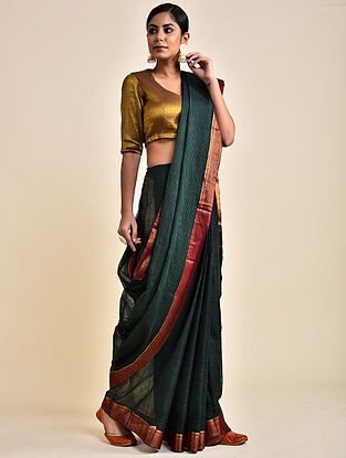 Green Handwoven Missing Check Cotton Saree