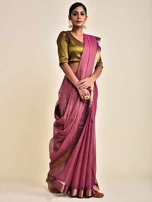 Pink Handwoven Missing Check Cotton Saree