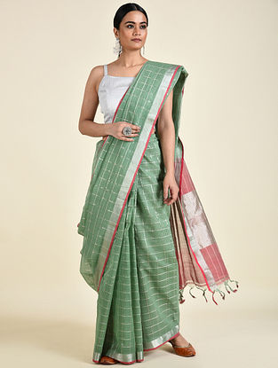 Green-Red Handwoven Cotton Saree