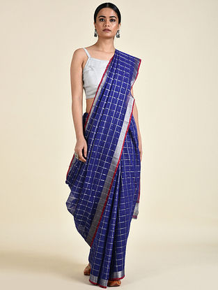Blue-Red Handwoven Cotton Saree