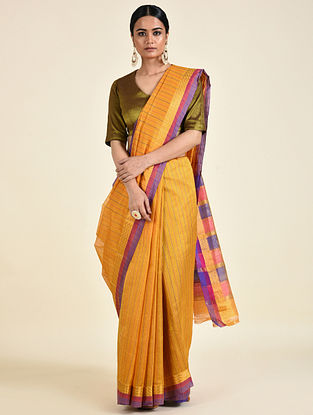 Yellow-Purple Handwoven Silk Cotton Saree