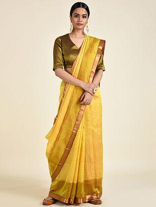 Yellow-Pink Handwoven Silk Cotton Saree