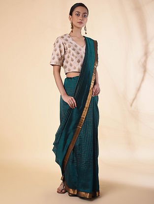 Teal Handwoven Silk Cotton Saree