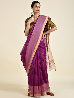 Purple Handwoven Silk Cotton Saree