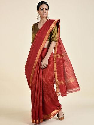 Red Handwoven Silk Cotton Saree