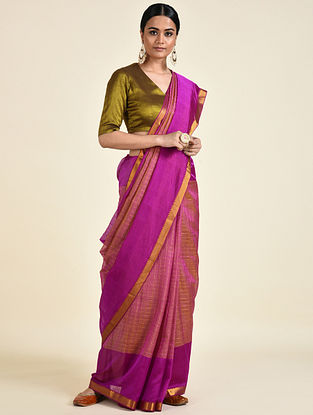 Purple-Yellow Handwoven Silk Cotton Saree