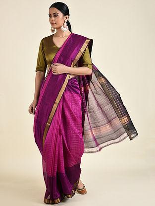 Pink-Black Handwoven Silk Cotton Saree