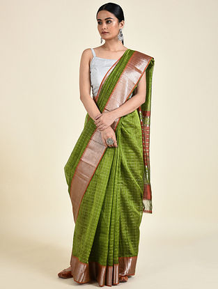 Green-Rust Handwoven Silk Cotton Saree