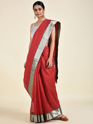 Red Handwoven Silk Cotton Saree
