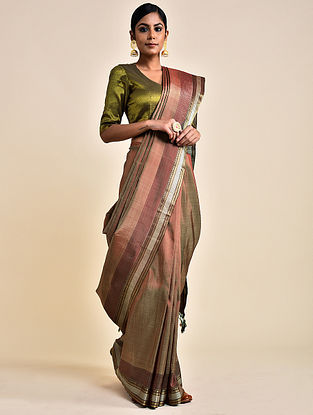 Beige Handwoven Silk Saree