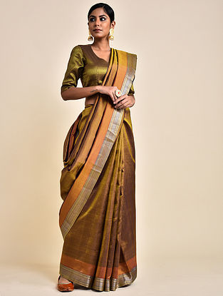 Bronze Handwoven Silk Saree