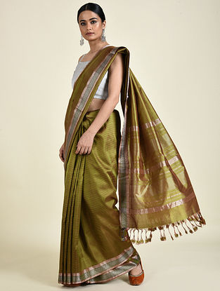 Olive Handwoven Silk Saree