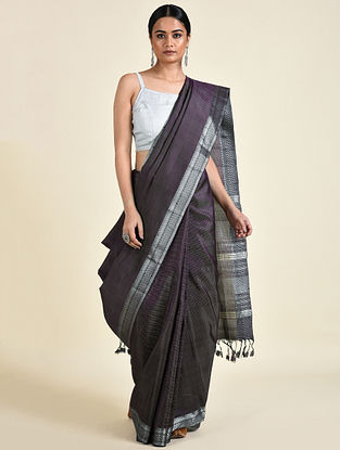 Black-Grey Handwoven Silk Saree