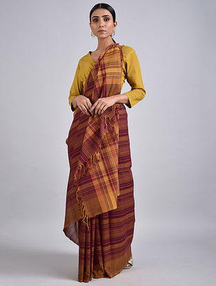Purple-Brown Handwoven Cotton Saree