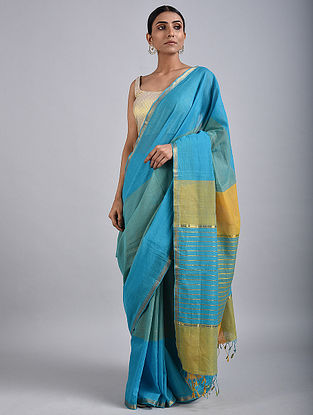 Blue-Yellow Handwoven Cotton Saree with Zari