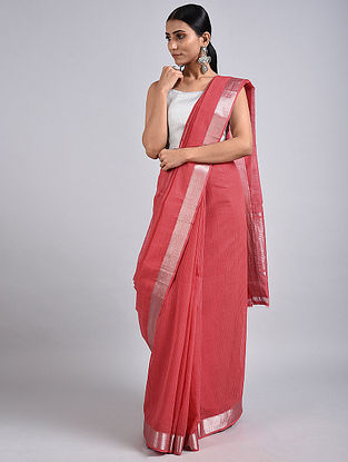 Pink Handwoven Missing Check Cotton Saree with Zari