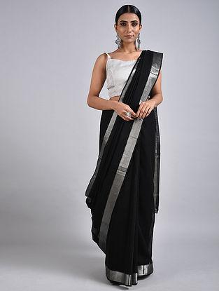 Black Handwoven Missing Check Cotton Saree with Zari