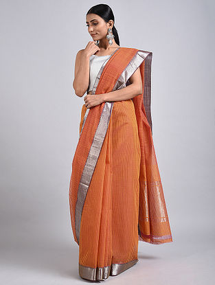 Brown Handwoven Missing Check Cotton Saree with Zari