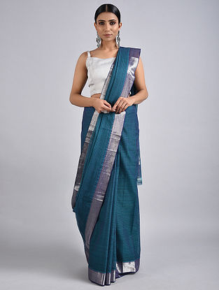 Blue Handwoven Missing Check Cotton Saree with Zari
