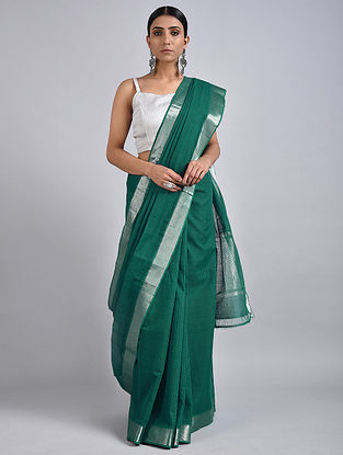 Green Handwoven Missing Check Cotton Saree with Zari